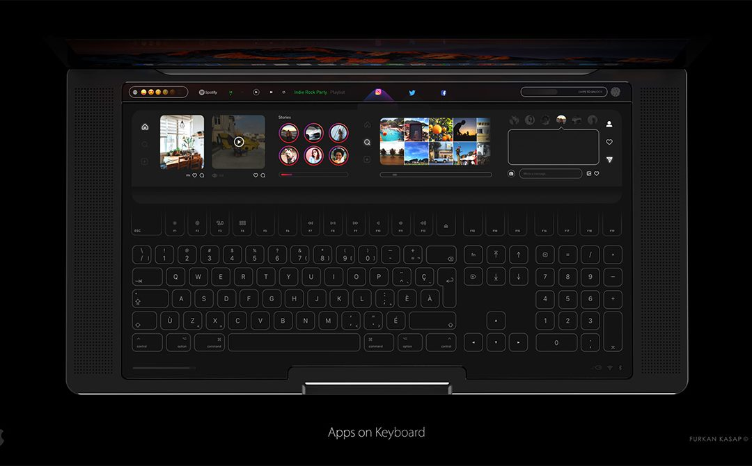 MacBook wyposażony w dwa wyświetlacze oraz szklaną klawiaturę?