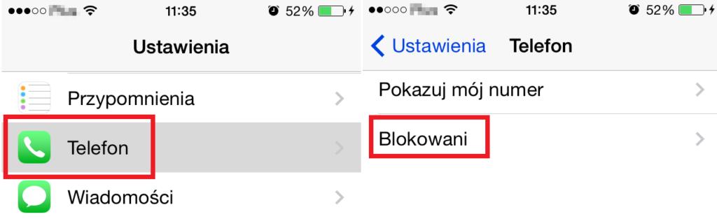 blokowanie numeru iphone